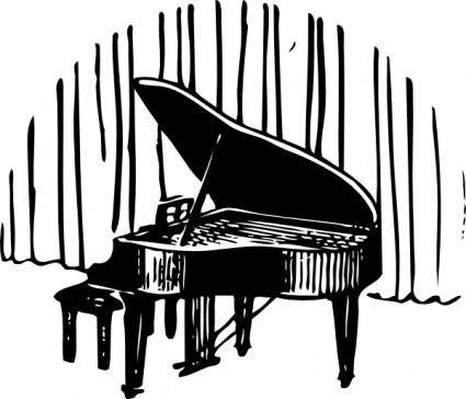 Piano In Front Of Curtain clip art