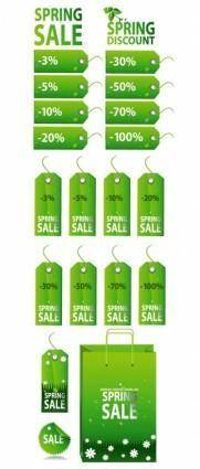 free vector Green spring tag sale tag vector