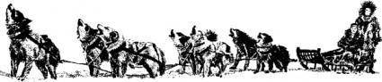 Dog Sled And Team clip art