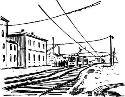 free vector Electric Train Scene clip art