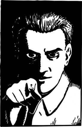 free vector Creepy Guy Pointing clip art