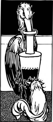 Stork Gets In Urn Fox Cannot clip art