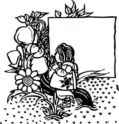 Child In Garden Title Page clip art