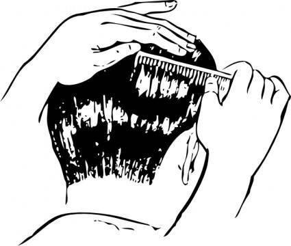 Combing Hair clip art