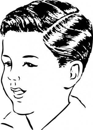 Medium Haircut With Side Part clip art