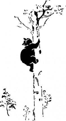 free vector Bear Up A Tree clip art