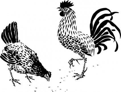 free vector Hen And Rooster clip art