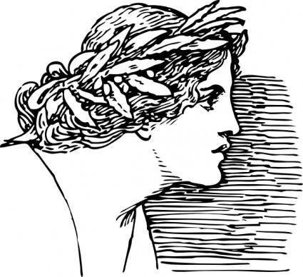 Woman Wearing Wreath clip art