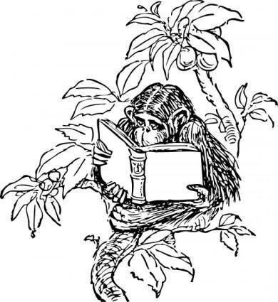 Monkey Reading clip art