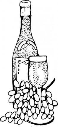 free vector Wine Bottle And Glass clip art