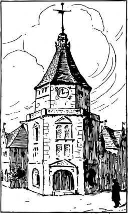 free vector Small Alsatian Tower clip art