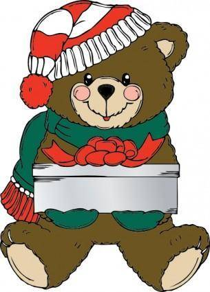 Christmas Bear Wih Present clip art
