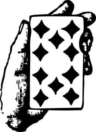 free vector Hand With Ten Of Diamonds clip art