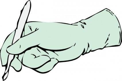 Gloved Hand With Scalpel clip art