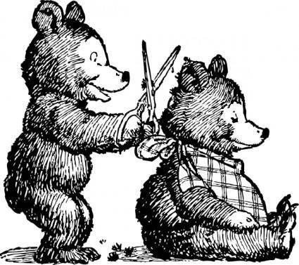 Bear Gets Haircut clip art