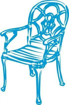 Slim Blue Chair clip art