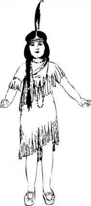 free vector Native American Girl clip art
