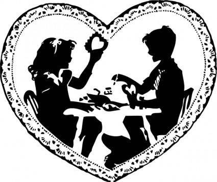 free vector Two Children Making Valentines clip art