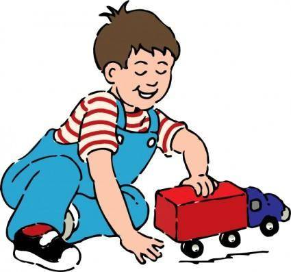 free vector Boy Playing With Toy Truck clip art