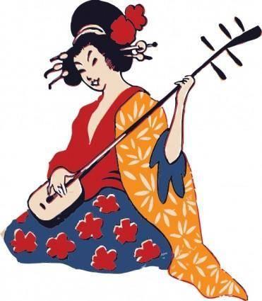 free vector Geisha Playing Shamisen clip art
