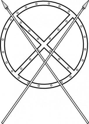 Round Shield And Crossed Spears clip art