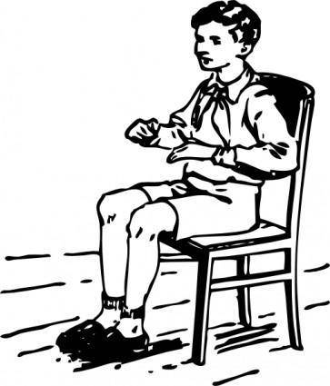 Boy Sitting In Chair clip art