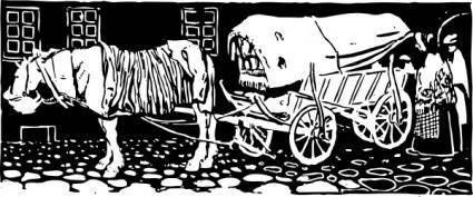 free vector Wagon On Cobblestones clip art