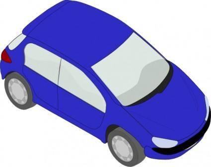Blue Peugeot 206 clip art