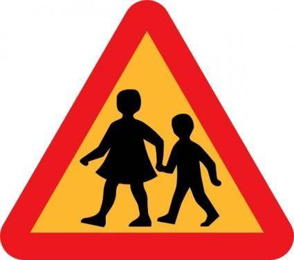Child And Parent Crossing Road Sign clip art