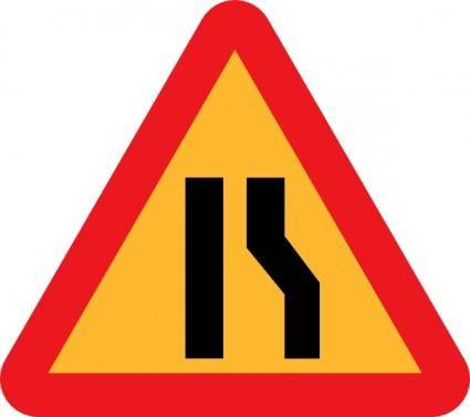 free vector Narrowing Lanes Road Sign clip art