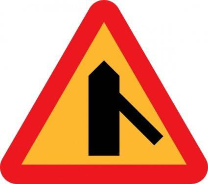 Roads Merge Sign clip art