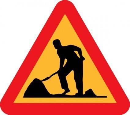 Workman Ahead Roadsign clip art