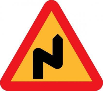 Zig Zag Road Sign clip art