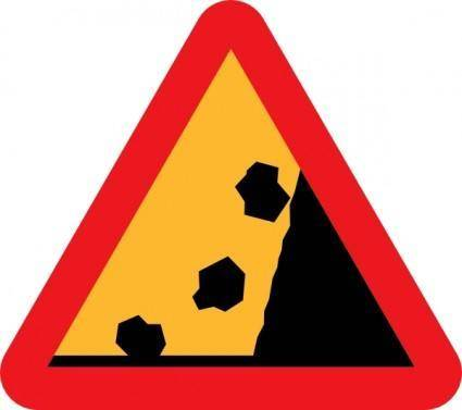 free vector Falling Rocks From Rhs Roadsign clip art
