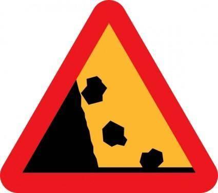 free vector Falling Rocks Road Sign clip art
