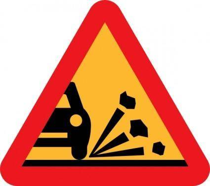 Loose Stones On The Road Roadsign clip art