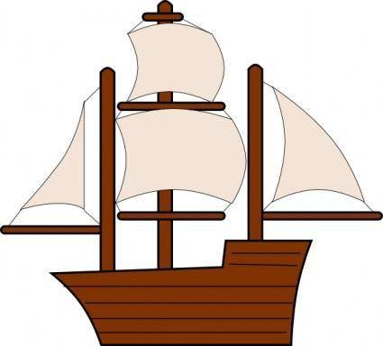 Unfurled Sailing Ship clip art