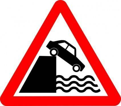 Caution Cliff Water clip art