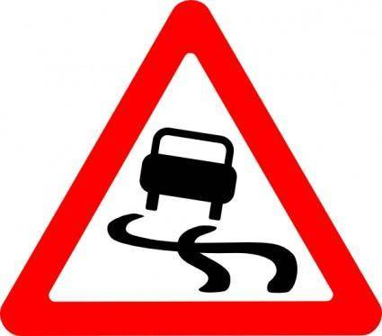 Slippery Road Sign clip art