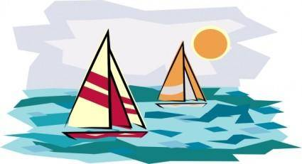 Two Sailboats In Sunset clip art
