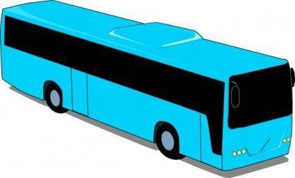 Blue Travel Bus clip art