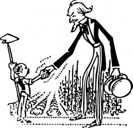 Uncle Sam Shakes The Farmers Hand clip art