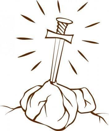 free vector Sword In The Stone  clip art
