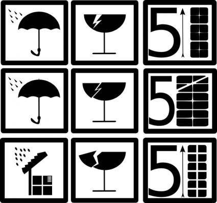 Pictograms Rain Water Broken Glass clip art