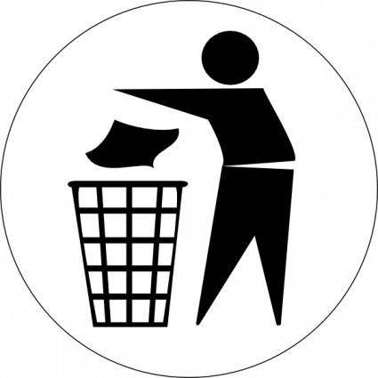 free vector Doctormo Put Rubbish In Bin Signs clip art