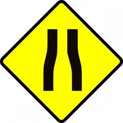 free vector Caution Road Narrows clip art
