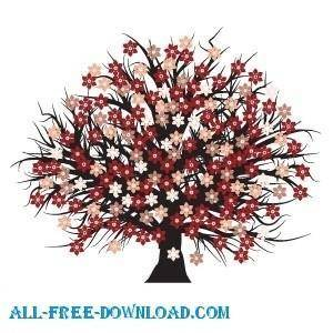 free vector Vector blossomed tree