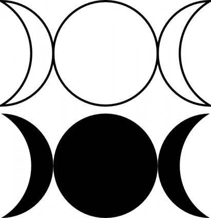 Triple Goddess Symbol (waxing Crescent, Full Moon, Waning Crescent)Outlined And Filled Versions clip art