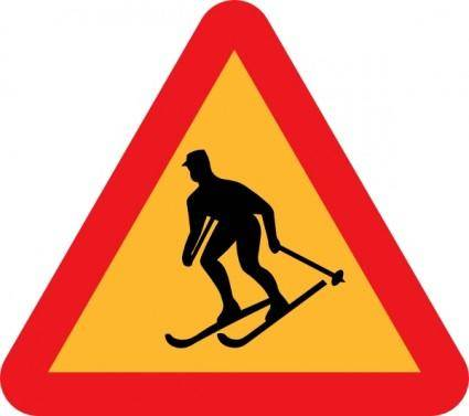 free vector Skiier Sign clip art
