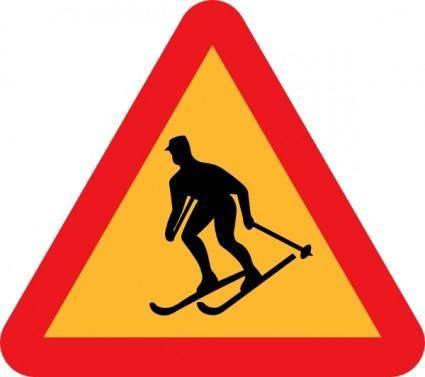 Skiier Sign clip art